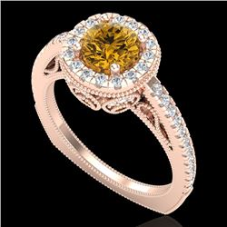 1.55 CTW Intense Fancy Yellow Diamond Engagement Art Deco Ring 18K Rose Gold - REF-178R2K - 37988