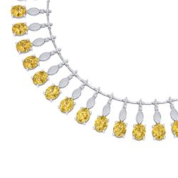 50.16 CTW Royalty Canary Citrine & VS Diamond Necklace 18K White Gold - REF-927R3K - 39135