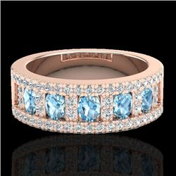 2 CTW Topaz & Micro Pave VS/SI Diamond Designer Inspired Band Ring 10K Rose Gold - REF-60F4M - 20818