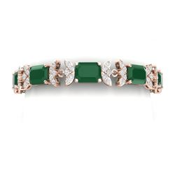 38.13 CTW Royalty Emerald & VS Diamond Bracelet 18K Rose Gold - REF-490W9H - 39391