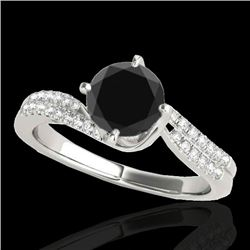 1.2 CTW Certified Vs Black Diamond Bypass Solitaire Ring 10K White Gold - REF-59X8T - 35110