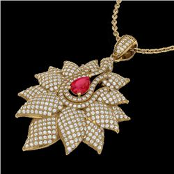 3 CTW Ruby & Micro Pave VS/SI Diamond Designer Necklace 18K Yellow Gold - REF-257K3R - 22564
