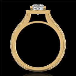 2 CTW Princess VS/SI Diamond Solitaire Micro Pave Ring 18K Yellow Gold - REF-472M8F - 37183