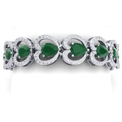 32.15 CTW Royalty Emerald & VS Diamond Bracelet 18K White Gold - REF-690H9W - 38685