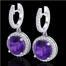 4 CTW Amethyst & Micro Pave VS/SI Diamond Certified Designer Halo 18K White Gold - REF-87T8X - 23175
