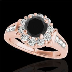 1.9 CTW Certified Vs Black Diamond Solitaire Halo Ring 10K Rose Gold - REF-96X2T - 34296
