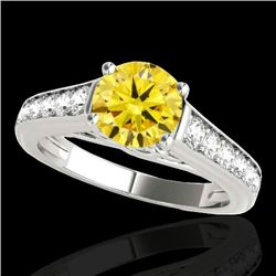 1.5 CTW Certified Si Fancy Intense Yellow Diamond Solitaire Ring 10K White Gold - REF-176Y4N - 34905