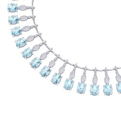 65.76 CTW Royalty Sky Topaz & VS Diamond Necklace 18K White Gold - REF-945Y5N - 39132