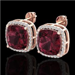 12 CTW Garnet & Micro Pave Halo VS/SI Diamond Earrings Solitaire 14K Rose Gold - REF-73K3R - 23064