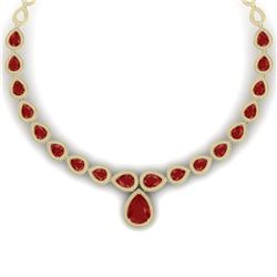 51.41 CTW Royalty Ruby & VS Diamond Necklace 18K Yellow Gold - REF-1018X2T - 39425