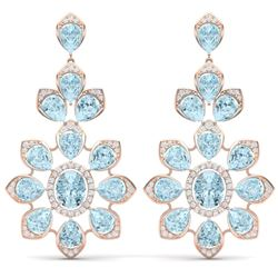 53.34 CTW Royalty Sky Topaz & VS Diamond Earrings 18K Rose Gold - REF-381M8F - 39055