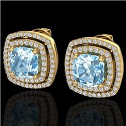 4.05 CTW Sky Blue Topaz & Micro VS/SI Diamond Halo Earrings 18K Yellow Gold - REF-104W4H - 20158