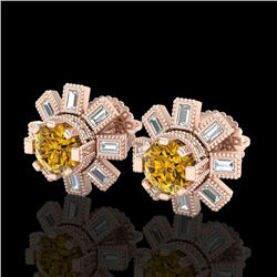 1.77 CTW Intense Fancy Yellow Diamond Art Deco Stud Earrings 18K Rose Gold - REF-177W3H - 37869
