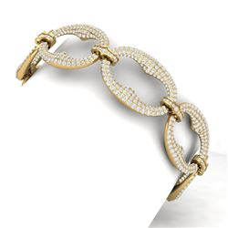 14 CTW Certified VS/SI Diamond Bracelet 18K Yellow Gold - REF-775K2R - 40060