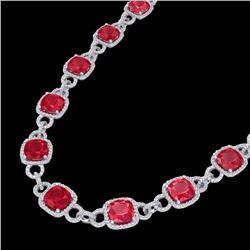 56 CTW Ruby & Micro VS/SI Diamond Certified Eternity Necklace 14K White Gold - REF-1003F6M - 23048