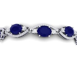 22.15 CTW Royalty Sapphire & VS Diamond Bracelet 18K White Gold - REF-400F2M - 38964