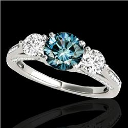 1.75 CTW SI Certified Fancy Blue Diamond 3 Stone Ring 10K White Gold - REF-209X3T - 35354