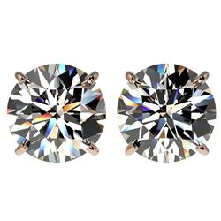 4 CTW Certified G-Si Quality Diamond Solitaire Stud Earrings 10K Rose Gold - REF-940F9M - 33132