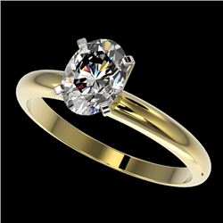 1.25 CTW Certified VS/SI Quality Oval Diamond Solitaire Ring 10K Yellow Gold - REF-370K8R - 32915