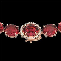 145 CTW Pink Tourmaline & VS/SI Diamond Halo Micro Necklace 14K Rose Gold - REF-1955H6W - 22309