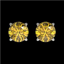 1 CTW Certified Intense Yellow SI Diamond Solitaire Stud Earrings 10K White Gold - REF-141X8T - 3305