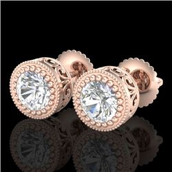 1.09 CTW VS/SI Diamond Solitaire Art Deco Stud Earrings 18K Rose Gold - REF-180M2F - 36888
