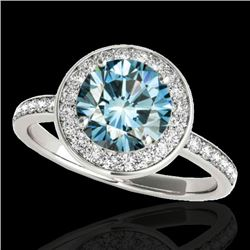 1.65 CTW SI Certified Fancy Blue Diamond Solitaire Halo Ring 10K White Gold - REF-209K3R - 34374