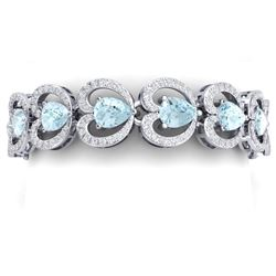 33.43 CTW Royalty Sky Topaz & VS Diamond Bracelet 18K White Gold - REF-594N5Y - 38694