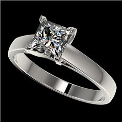 1.25 CTW Certified VS/SI Quality Princess Diamond Solitaire Ring 10K White Gold - REF-372K3R - 33013