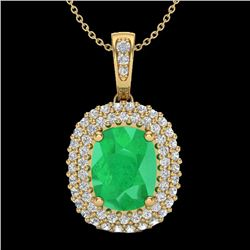 3.15 CTW Emerald & Micro Pave VS/SI Diamond Halo Necklace 18K Yellow Gold - REF-90X9T - 20414