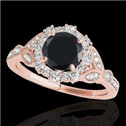 1.5 CTW Certified Vs Black Diamond Solitaire Halo Ring 10K Rose Gold - REF-70Y5N - 33764