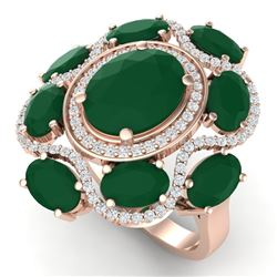 9.86 CTW Royalty Designer Emerald & VS Diamond Ring 18K Rose Gold - REF-218F2M - 39292