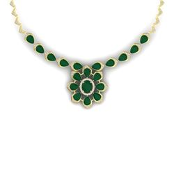 38.46 CTW Royalty Emerald & VS Diamond Necklace 18K Yellow Gold - REF-654N5Y - 39032