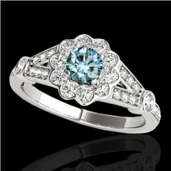 1.9 CTW SI Certified Fancy Blue Diamond Solitaire Halo Ring 10K White Gold - REF-227T3X - 34040