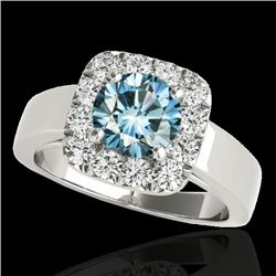 1.55 CTW SI Certified Fancy Blue Diamond Solitaire Halo Ring 10K White Gold - REF-174K5R - 34243