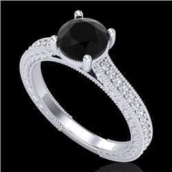 1.45 CTW Fancy Black Diamond Solitaire Engagement Art Deco Ring 18K White Gold - REF-109W3H - 37751