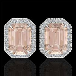8.40 CTW Morganite & Micro Pave VS/SI Diamond Halo Earrings 18K White Gold - REF-210K8R - 21230