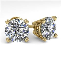 4 CTW Certified VS/SI Diamond Stud Earrings 14K Yellow Gold - REF-1827Y3N - 38387