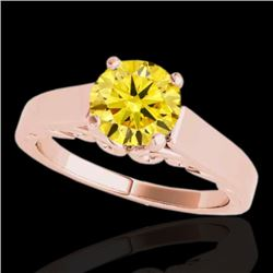 1 CTW Certified Si Fancy Intense Yellow Diamond Solitaire Ring 10K Rose Gold - REF-144M5F - 35145