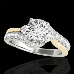 1.6 CTW H-SI/I Certified Diamond Bypass Solitaire Ring Two Tone 10K White & Yellow Gold - REF-180F2M