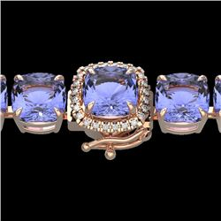 40 CTW Tanzanite & Micro Pave VS/SI Diamond Halo Bracelet 14K Rose Gold - REF-548N2Y - 23325