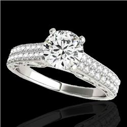 1.91 CTW H-SI/I Certified Diamond Solitaire Antique Ring 10K White Gold - REF-353K3R - 34702