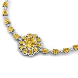 72.38 CTW Royalty Canary Citrine & VS Diamond Necklace 18K White Gold - REF-472H8W - 39180