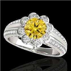 1.5 CTW Certified Si Fancy Intense Yellow Diamond Solitaire Halo Ring 10K White Gold - REF-171W6H -