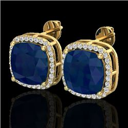 12 CTW Sapphire & Micro Pave Halo VS/SI Diamond Earrings 18K Yellow Gold - REF-158K2R - 23069