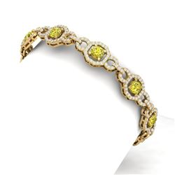 12 CTW Si/I Fancy Yellow And White Diamond Bracelet 18K Yellow Gold - REF-845Y5N - 40120