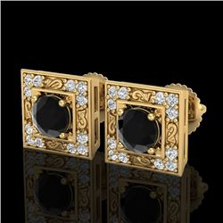 1.63 CTW Fancy Black Diamond Solitaire Art Deco Stud Earrings 18K Yellow Gold - REF-114W5H - 38159