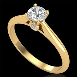 0.40 CTW VS/SI Diamond Solitaire Art Deco Ring 18K Yellow Gold - REF-58M2F - 37279