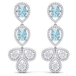 9.55 CTW Royalty Sky Topaz & VS Diamond Earrings 18K White Gold - REF-272Y8N - 39090