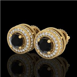 2.09 CTW Fancy Black Diamond Solitaire Art Deco Stud Earrings 18K Yellow Gold - REF-154Y5N - 38012